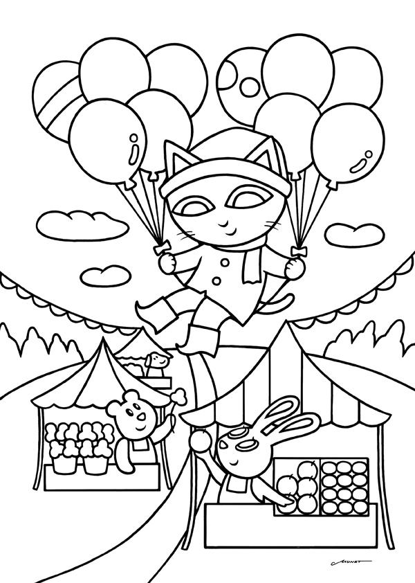 無料ダウンロードぬりえ6風船で見学 花と食のマルシェ カフェデ