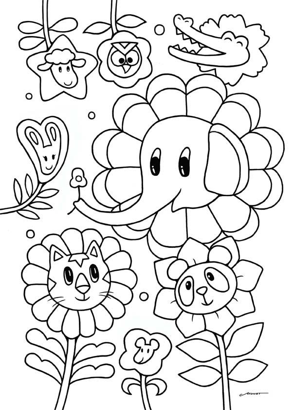 無料ダウンロードぬりえ 15動物顔の花たち 花の着ぐるみ姿の動物