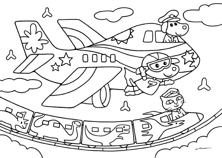 無料ダウンロードぬりえ 16飛行機と恐竜新幹線と空飛ぶワンコ