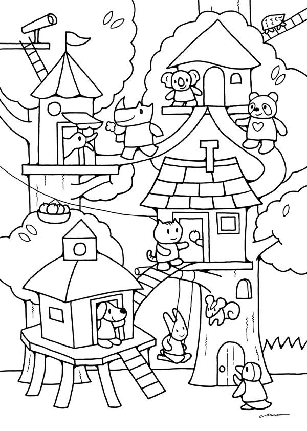 無料ダウンロードぬりえ 19ツリーハウスの動物キャラ 登って登って