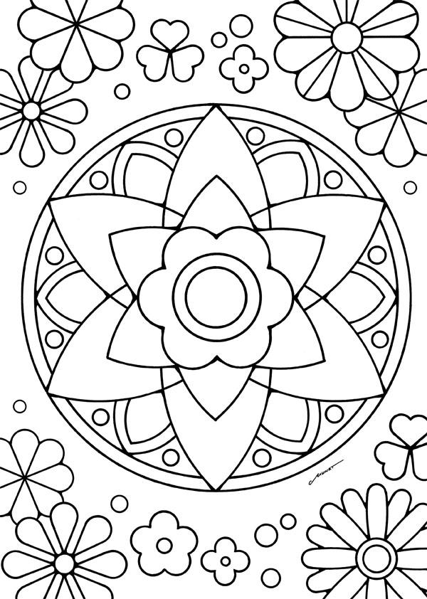 無料ダウンロードぬりえ 29 花マンダラを塗って花セラピスト